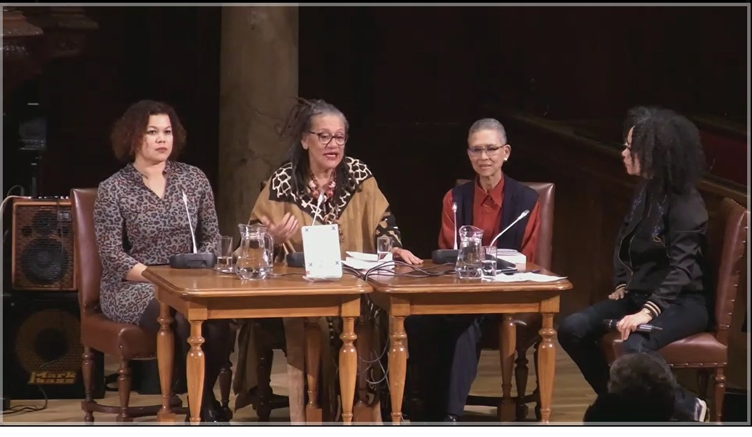 Philomena JM Essed, Universiteit van Amsterdam. Van Links naar Rechts: Anousha Nzume, Prof. dr Gloria Wekker (emeritus), Prof. dr Philomena JM Essed en panel leader Nancy Jouwe.