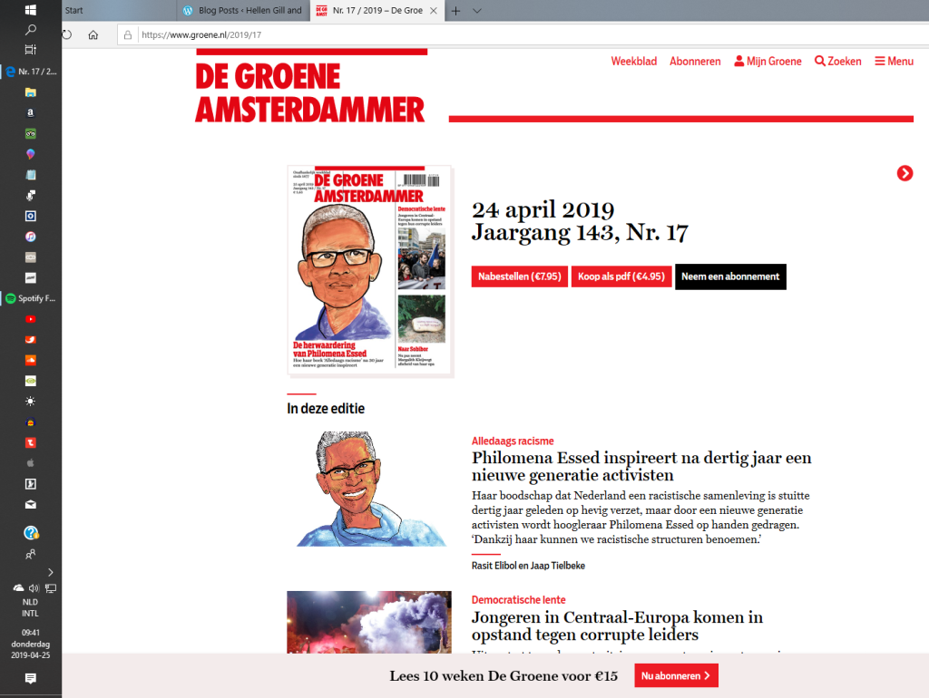 De Groene Amsterdammer. De herwaardering van Philomena Essed 'Het alledaagse was een blinde vlek' 24 april 2019.