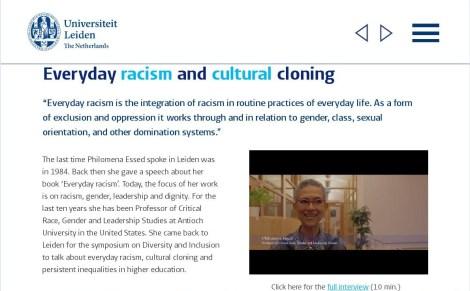 Philomena M Essed 2015-11-05 Universiteit Leiden. Everyday racism and cultural cloning.