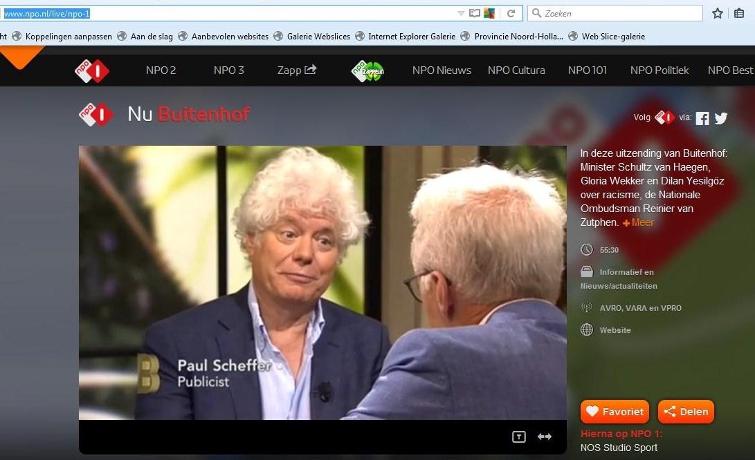 Prof dr GloriaWekker20160605 NPO-1 Buitenhof. White Innocent (Witte Onschuld) .......Publicist PaulScheffer bij PaulWitteman.