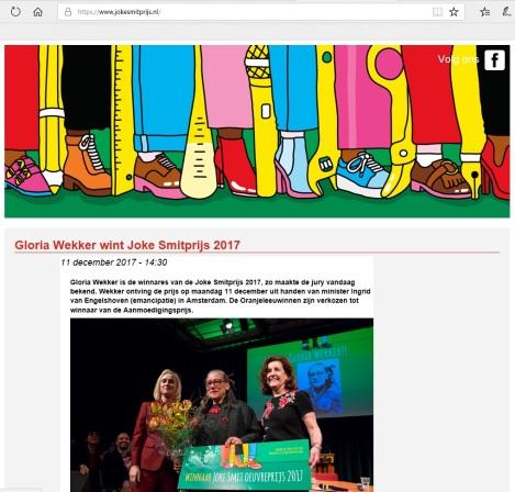 Gloria Wekker wint Joke Smit Prijs2017-c