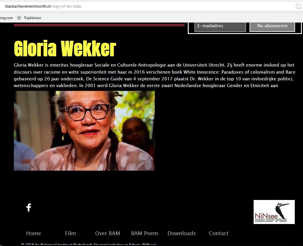 GloriaWekker2017BlackAchievementAward2