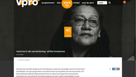 Prof dr GloriaWekker20160604 VPROradio White Innocence (Witte Onschuld)