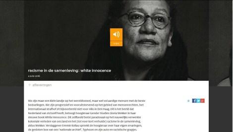 Prof dr GloriaWekker20160604 VPROradio White Innocence (Witte Onschuld)