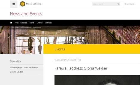 Prof dr Gloria Wekker Symposium, Afscheids UU wo 15 juni 2016.